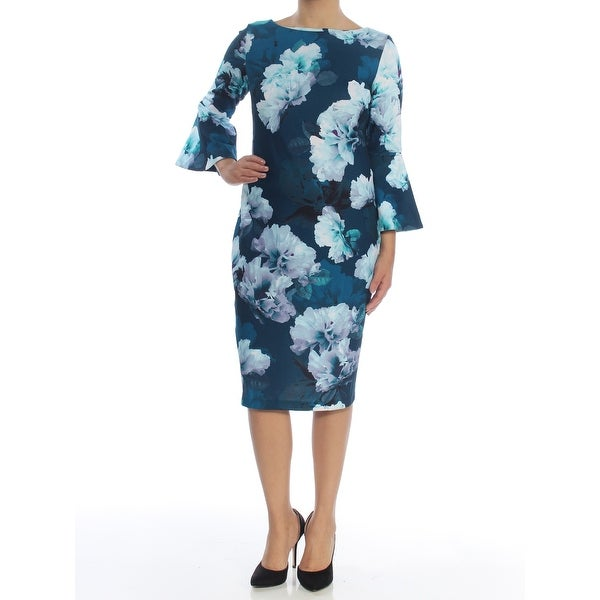 17cdd184 Shop CALVIN KLEIN Womens Aqua Floral Bell Sleeve Boat Neck Below The Knee  Sheath Cocktail Dress Size: 6 - On Sale - Free Shipping On Orders Over $45  ...