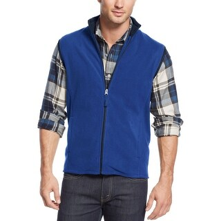Club Room Big and Tall Full Zip Fleece Mockneck Vest Cargo Blue 2XLT Tall