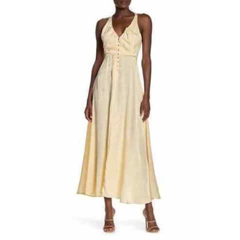 FREE PEOPLE Yellow Sleeveless Tea-Length Dress M