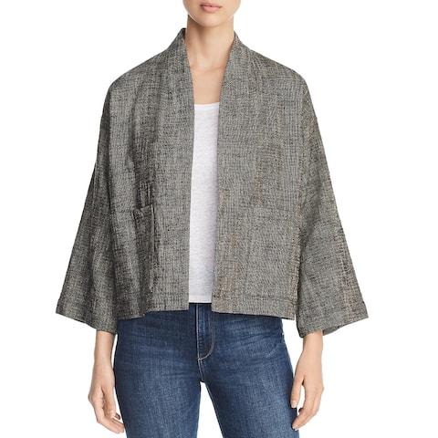 Eileen Fisher Womens Tweed Jacket Organic Cotton Blend High Collar - Nat Black - XXS
