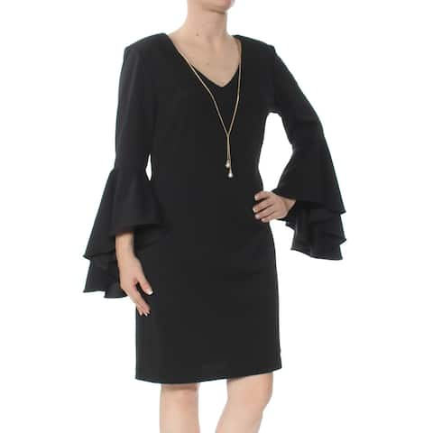 MSK Black Bell Sleeve Above The Knee Shift Dress Size 6