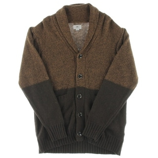 Obey Mens Cardigan Sweater Wool Blend Colorblock - L