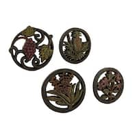 Fruits and Flowers Medley Decorative Wall Hanging Plaques Set of 4 - Purple