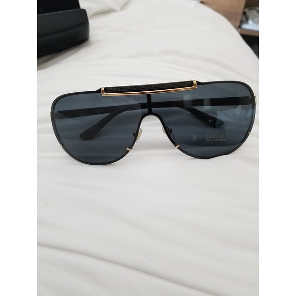 2ed83f0dd59b Shop Versace VE 2140 100287 Gold And Black Metal Grey Lens Sunglasses -  Free Shipping Today - Overstock - 12435068
