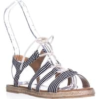 Nautica Multi Hull Flat Gladiator Sandals, Black Stripe