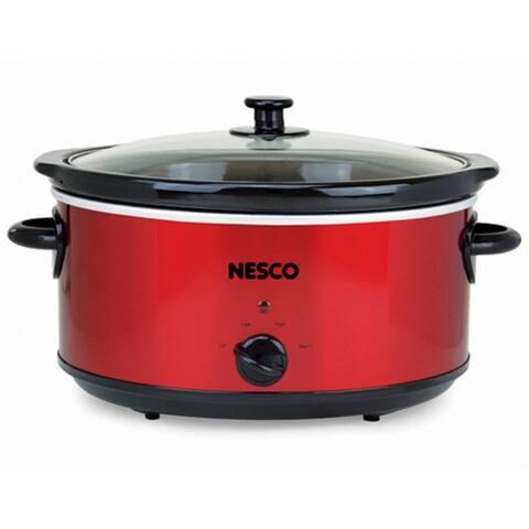 Nesco SC-6-22, 6 Quart Analog Metallic Red Slow Cooker