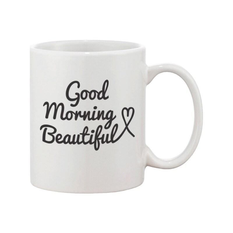 His And Hers Coffee Mug Set Good Morning Handsome Beautiful Perfect Wedding Anniversary Gift