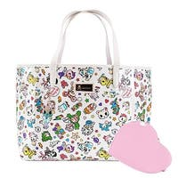 Tokidoki Denim Daze Tote Bag with Heart Shaped Coin Purse - White Collection - One Size Fits most