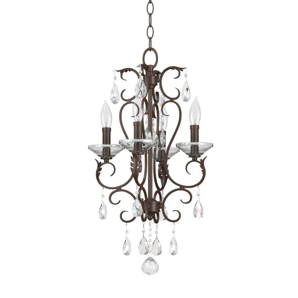 "Park Harbor PHHL6334 14"" Wide 4 Light Single Tier Shaded Style Chandelier with Crystal Accents"