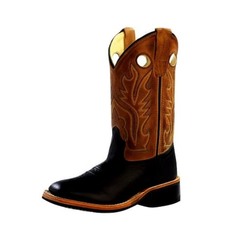 Old West Cowboy Boots Boys Broad Square Toe Rubber Black Tan