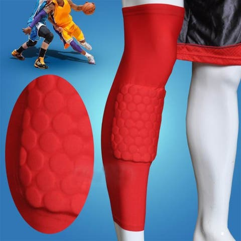 Image Size XL Basketball Knee Pads Leg Long Sleeves Honeycomb Protector Gear Anti-slip Pad Red