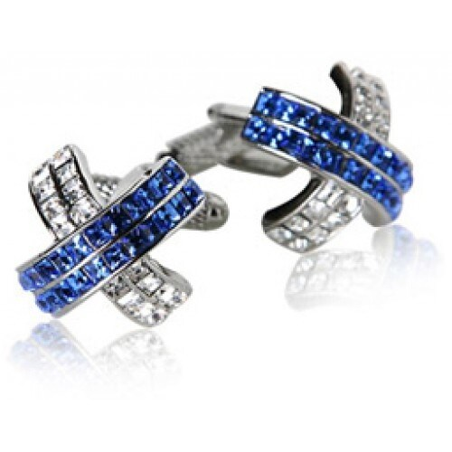Blue Crystal X-Shaped Cufflinks