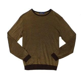 Polo Ralph Lauren NEW Brown Mens Size XS Crewneck Silk Sweater