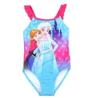 Disney Little Girls Aqua Frozen Anna Elsa Print One Piece Swimsuit