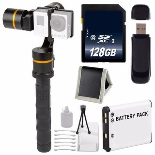 ikan 3-Axis Gimbal Stabilizer for GoPro + Replacement Lithium Ion Battery + 128GB Memory Card + Deluxe Starter Kit Bundle