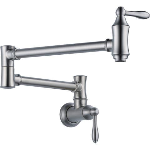 """Delta 1177LF Traditional Wall Mounted Pot Filler with Dual Swing Joints and 24"""" Extension"""