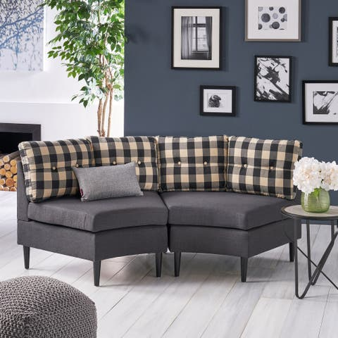 Jazmine Contemporary 2 Seater Modular Fabric Sectional by Christopher Knight Home