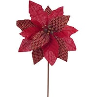 """Club Pack of 12 Red Burlap Poinsettia with Berries 22"""""""