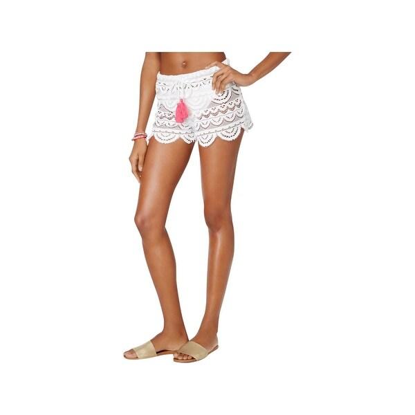 Shop Miken Womens Swim Scalloped Crochet Shorts Swim Cover-Up - Free ... 8ed4301e0f