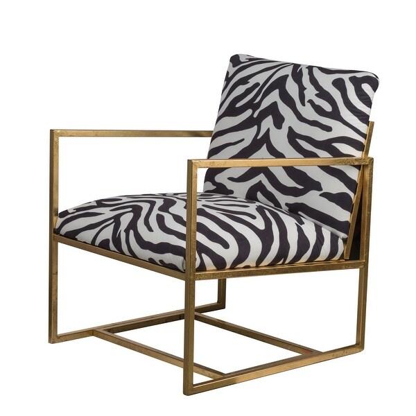 """25"""" Zebra Printed Soft Cushioned Kids Classic Iron Chair - N/A"""