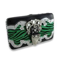 Metallic Flocked Zebra Print Flat Wallet W/Jeweled Rhinestone Buckle