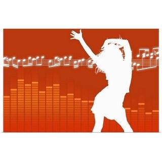 """Silhouette of dancing woman"" Poster Print"