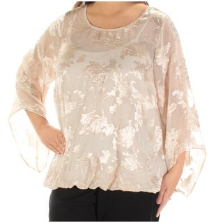 Womens Pink Floral Long Sleeve Jewel Neck Blouse Top Size 1X