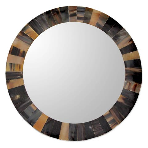 "Handmade Natural Melange Buffalo Horn Wall Mirror (India) - 0.6"" H x 14"" Diam."