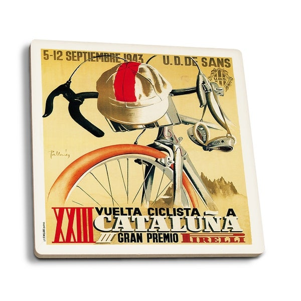 50e44ad24a Cataluna - Bicycle Racing - Vintage Advertisement (Set of 4 Ceramic  Coasters - Cork-