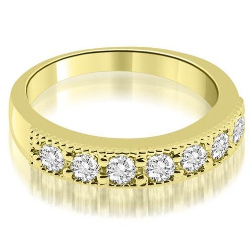 0.70 cttw. 14K Yellow Gold Classic Milgrain Round Cut Diamond Wedding Band