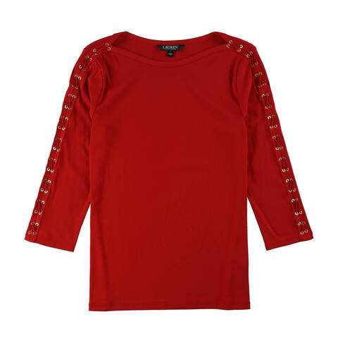 Ralph Lauren Womens Lace-Sleeve Basic T-Shirt - Large