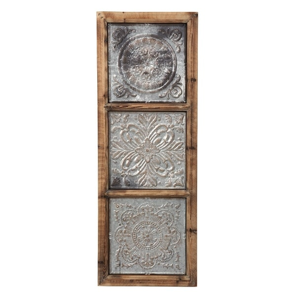 Foreside Home & Garden 15 x 41 inch Rustic Distressed Wood and Metal Wall Décor. Opens flyout.
