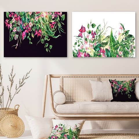 Designart 'Floral Tropical Leaves Om Black Collection' Botanical Set of 2 Pieces