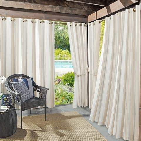 Sun Zero Valencia Cabana Stripe Indoor/ Outdoor Curtain Panel
