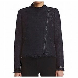 Tommy Hilfiger NEW Navy Blue Womens Size 16 Asymmetrical Fringe Jacket