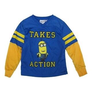 Minions Little Boys Royal Blue Yellow Character Print Long Sleeve Shirt 4-7