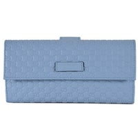 e9b56be56fbe Gucci Women's 449393 Mineral Blue Leather Micro GG Continental Bifold Wallet  - 7.5