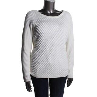 Calvin Klein Womens Wool Blend Honeycomb Pullover Sweater - XS
