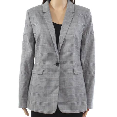 DKNY Women's Jacket Plaid-Print Notched-Collar One-Buttons