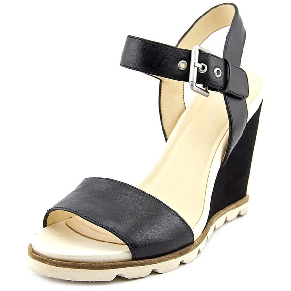 Nine West Gronigen Women Open Toe Leather Black Wedge Sandal