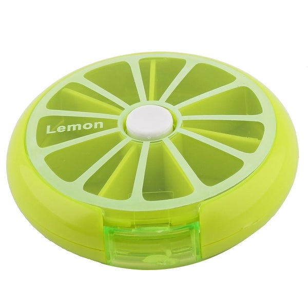 Plastic Fruit Style Button Rotate Weekly Medicine Pill Boxes Cases Light Green
