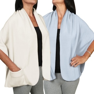 Women's Fleece Pocket Shawl Set Of Two - Light Blue And Ivory - One size