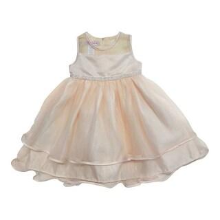 Little Girls Champagne Glitter Rhinestone Stylish Flower Girl Dress