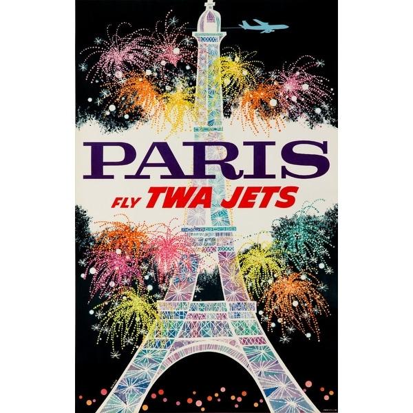 USA - TWA Paris Klein 1955 Vintage Ad (Acrylic Wall Clock)