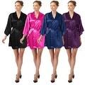 Sexy Womens Plain Satin Soft Charmeuse Kimono Bathrobe Belt Robes Set Lingerie - Thumbnail 8