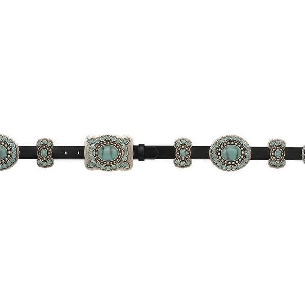 Angel Ranch Western Belt Womens Leather Conchos Black Turquoise