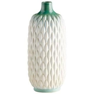 "Cyan Design 09090  Verdant Sea 6-1/4"" Diameter Ceramic Vase - Green / White Glaze"