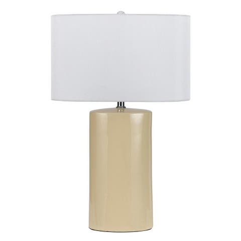Ceramic Table Lamp with Cylindrical Body, Set of 2, Beige and White