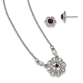 "Silvertone Downton Abbey Purple/Clear Crystal 16"" Necklace and Earring Set"