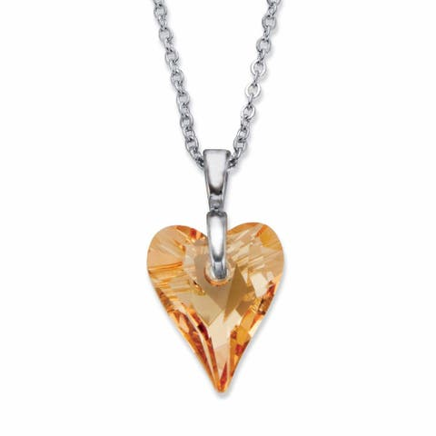 Silvertone Champagne Heart Shaped Crystal Pendant Necklace, 16 inches